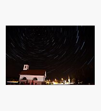 Star trails behind Vodice chapel Photographic Print