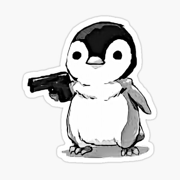 penguin with a gun Sticker
