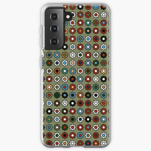 Parterre de fleurs, fond vert foncé, hippie style Samsung Galaxy Soft Case