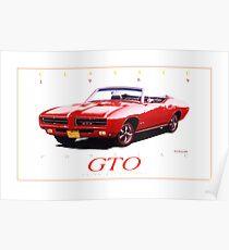 pontiac gto drawing posters redbubble1969 pontiac gto convertible ver 4 poster