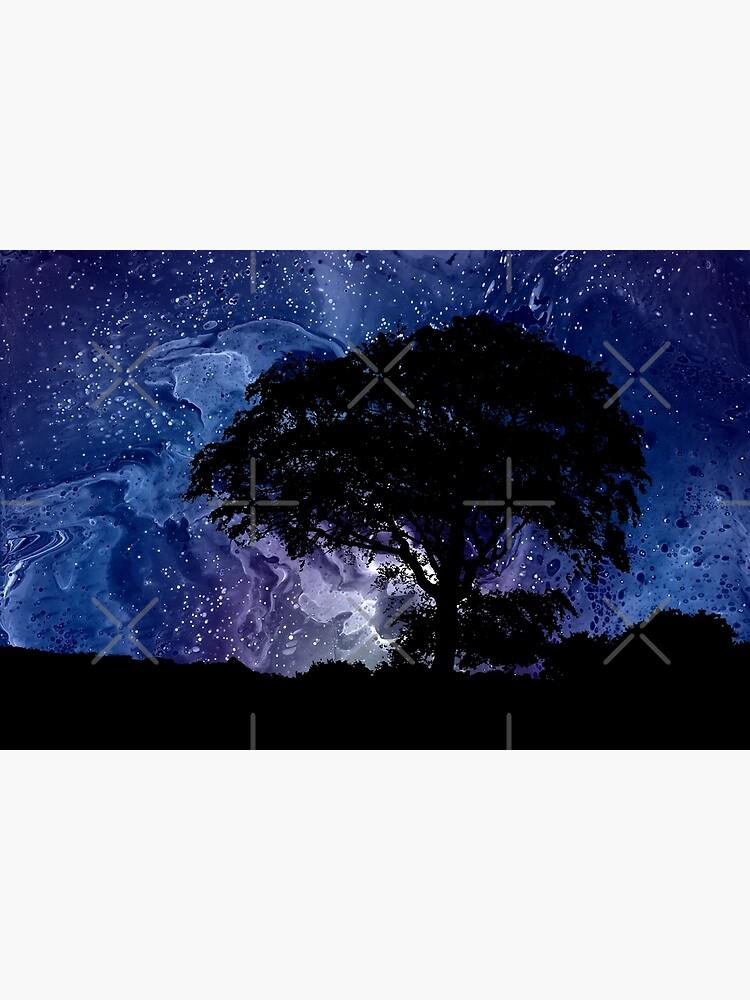 Nightfall: Twilight scenery, trees, sky, stars by kerravonsen