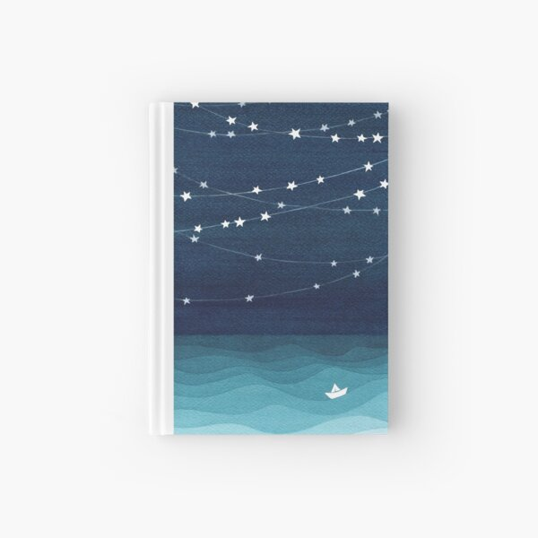 Garland of stars, teal ocean Hardcover Journal