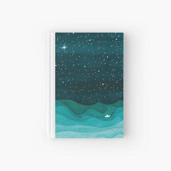 Starry Ocean, teal sailboat watercolor sea waves night Hardcover Journal