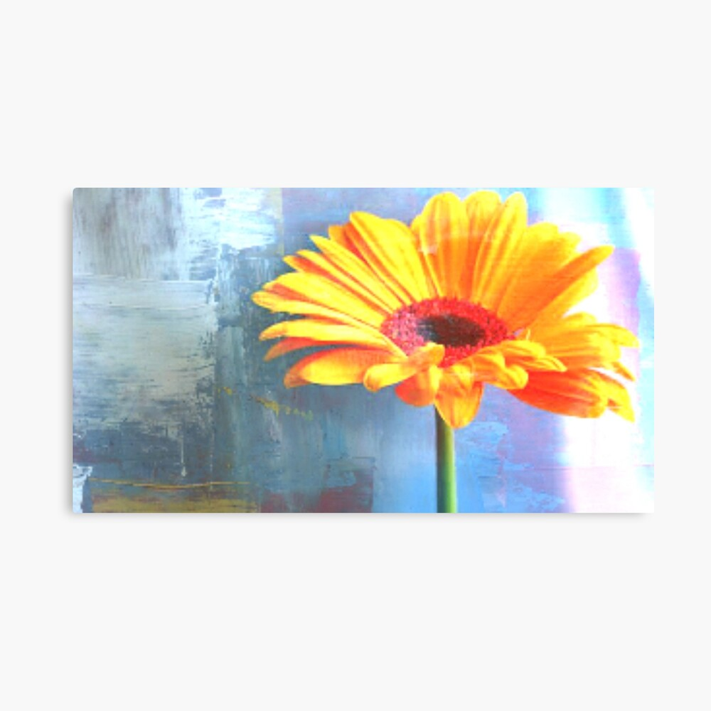 Orange And Blue - Floral Art Print Canvas Print