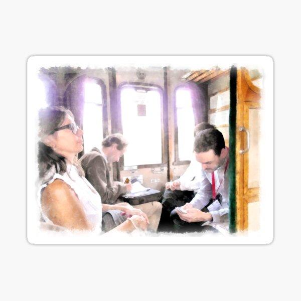 Travelers in the railway wagon Sticker