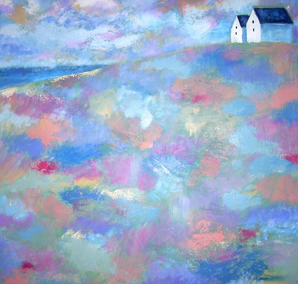 Acrylic painting Beach Houses by Emily King