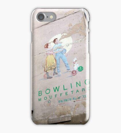 vintage bowling couple in paris iPhone Case/Skin