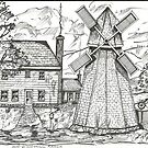 Old New England Windmill Scene by Charles Adams