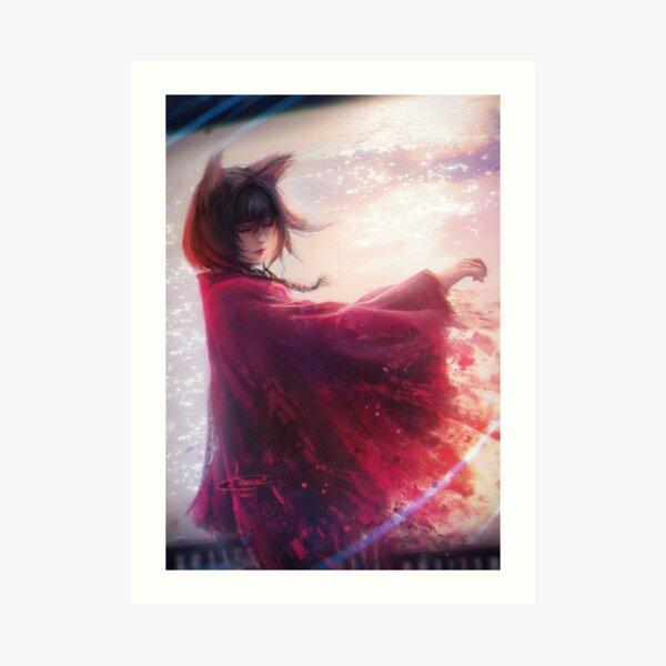 Crimson Nekogirl  Art Print