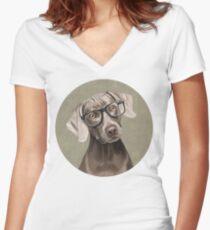 Mr Weimaraner Women's Fitted V-Neck T-Shirt