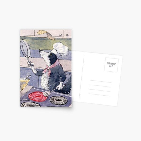 Pancake Champ!  This Border Collie dog loves to flip pancakes! Postcard