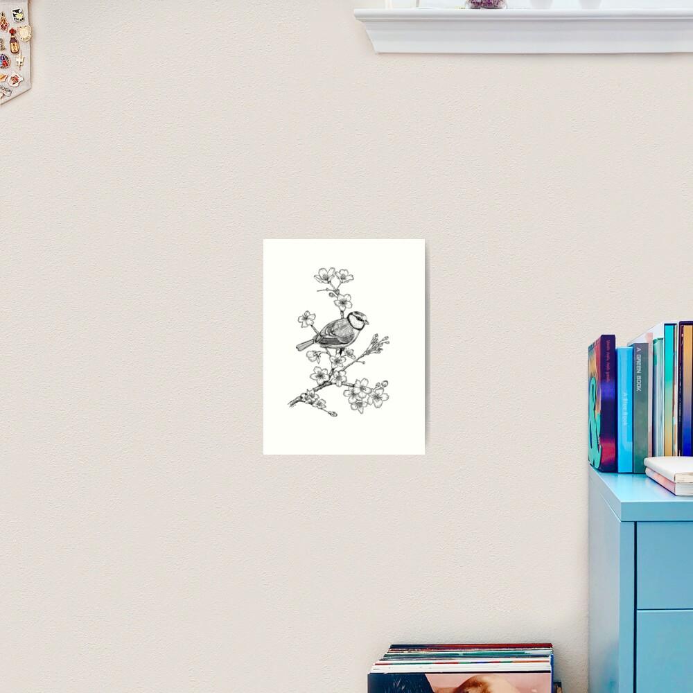 Parus on a Cherry Branch Art Print