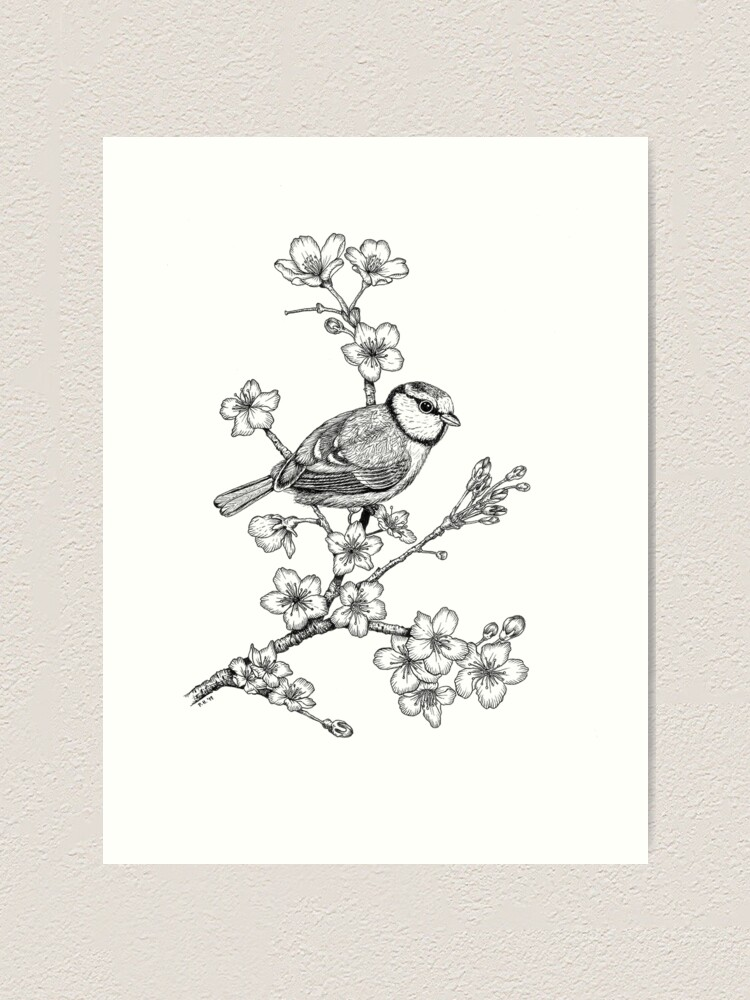 Alternate view of Parus on a Cherry Branch Art Print