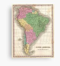 vintage Map of South America Canvas Print