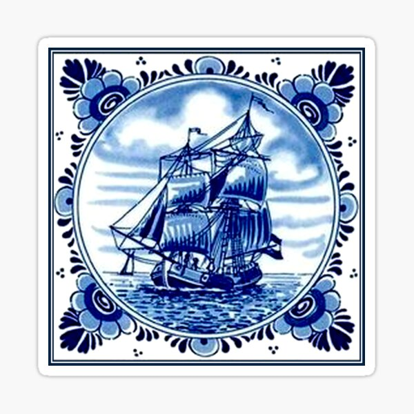 DUTCH BLUE DELFT : Vintage Sailboat and Tall Ship Print Sticker