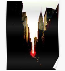 Manhattanhenge Sunset and the Chrysler Building Poster