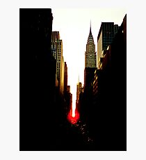 Manhattanhenge Sunset and the Chrysler Building Photographic Print