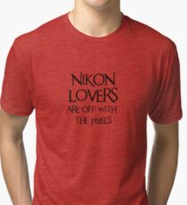 Nikon lovers, off with the pixels ~ black text Tri-blend T-Shirt
