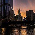 Orange sky at dusk on Chicago/s river walk by Sven Brogren