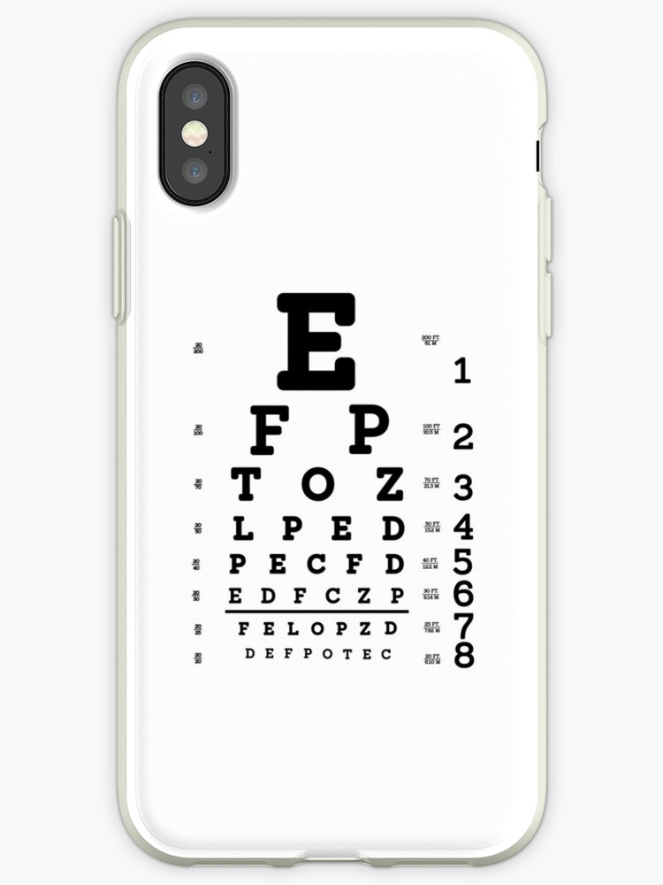 Snellen Eye Chart Iphone Cases Covers By Allhistory Redbubble