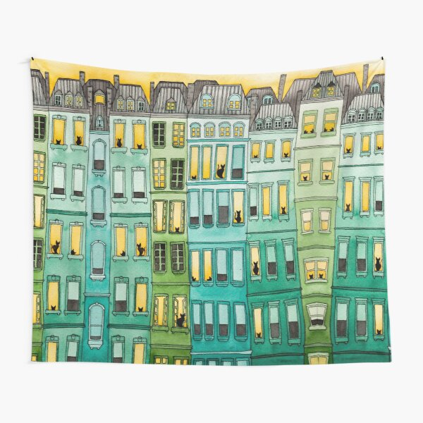 Cats in Green Townhouses Tapestry