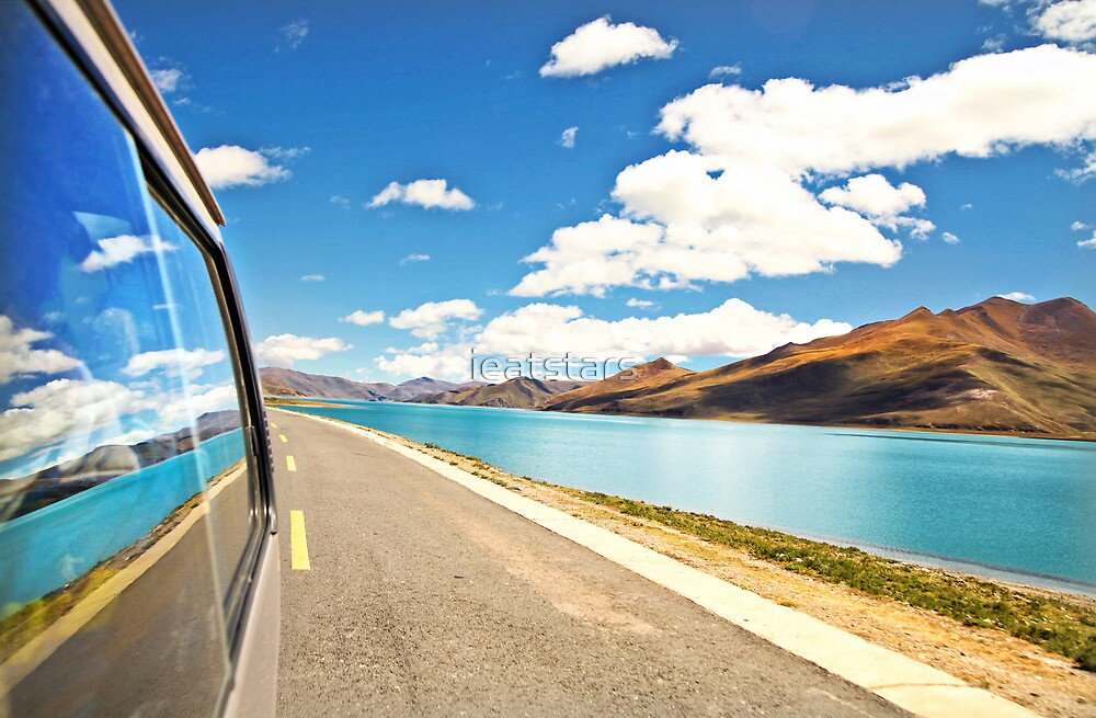 Driving next to lake along Friendship Highway, Tibet by ieatstars