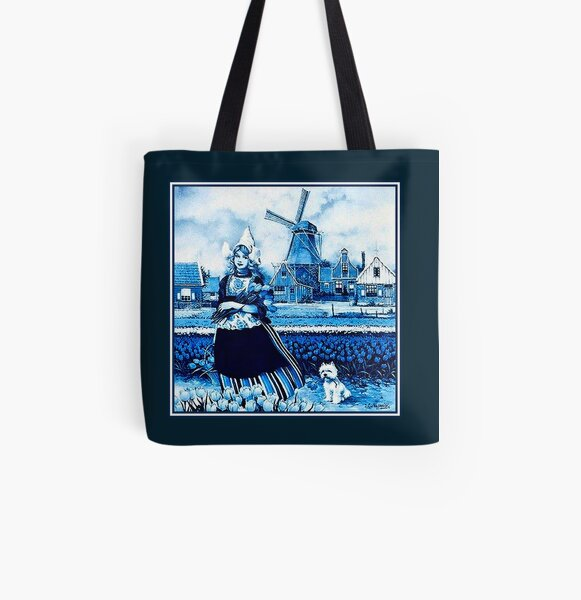 DUTCH BLUE DELFT : Vintage Windmill, Young Girl, Dog and tulips Print All Over Print Tote Bag