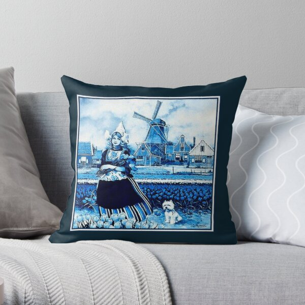 DUTCH BLUE DELFT : Vintage Windmill, Young Girl, Dog and tulips Print Throw Pillow