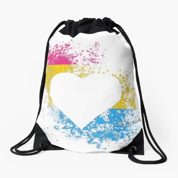 Pansexual Pride Heart Drawstring Bag
