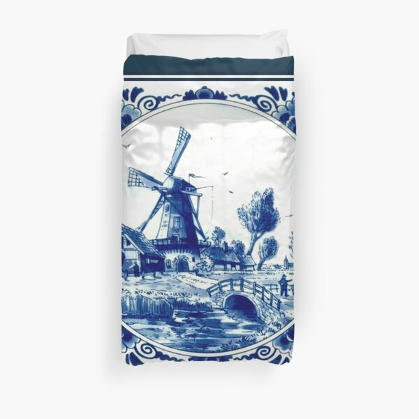 DUTCH BLUE DELFT : Vintage Windmill and Bridge Print Duvet Cover