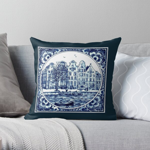 DUTCH BLUE DELFT : Vintage Boats in Canal Amsterdam Print Throw Pillow