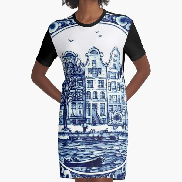 DUTCH BLUE DELFT : Vintage Boats in Canal Amsterdam Print Graphic T-Shirt Dress