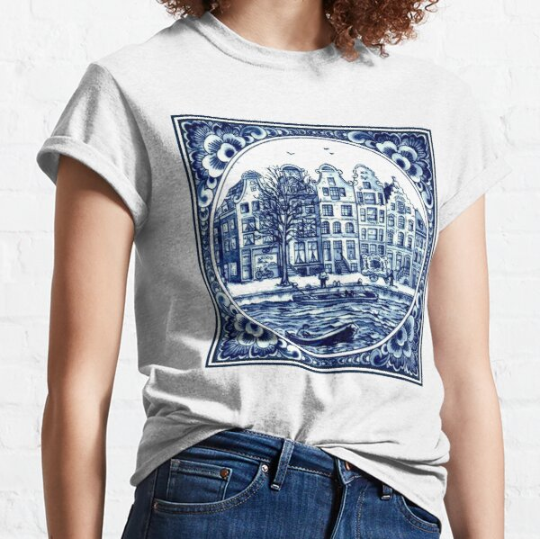 DUTCH BLUE DELFT : Vintage Boats in Canal Amsterdam Print Classic T-Shirt