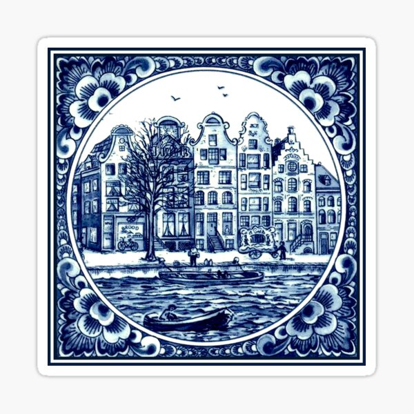 DUTCH BLUE DELFT : Vintage Boats in Canal Amsterdam Print Sticker