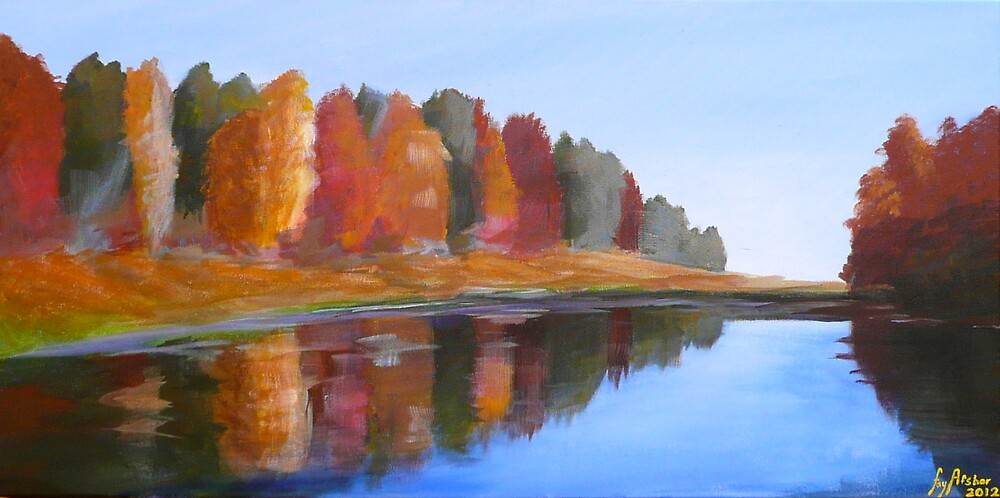 """Autumn River - Acrylic Painting - 30"""" by 15"""" by fayafshar"""