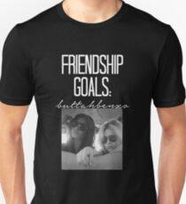 Freundschaftsziele; ButtahBenzo-- Weiß Slim Fit T-Shirt
