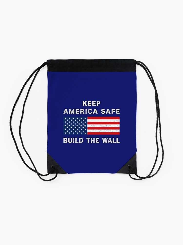 Alternate view of Keep America Safe Build the Wall Partisan Ensign. Drawstring Bag
