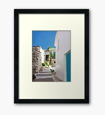 Lots of Steps and Whitewashed Buildings in Greece Framed Print