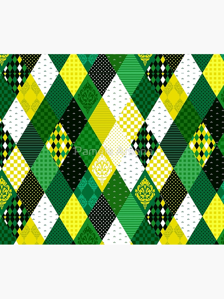 Whimsical Country Green Patchwork Quilt Print by xpressio