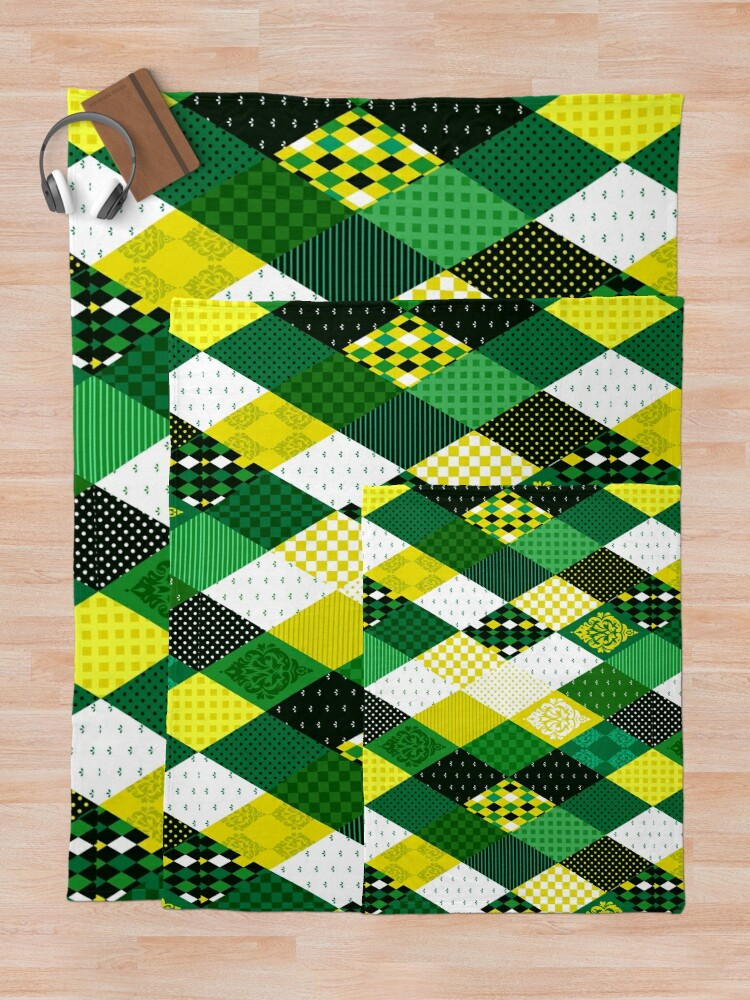 Alternate view of Whimsical Country Green Patchwork Quilt Print Throw Blanket