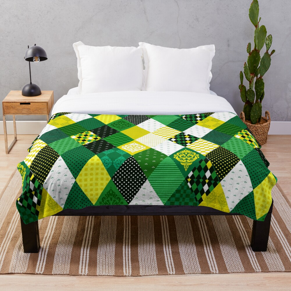 Whimsical Country Green Patchwork Quilt Print Throw Blanket
