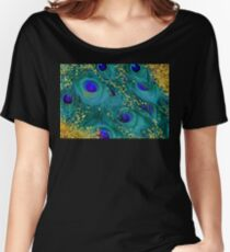 Dreamy peacock feathers, teal and purple, glimmering gold Women's Relaxed Fit T-Shirt