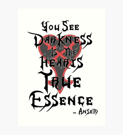 Kingdom Hearts: Ansem Quote  Art Print