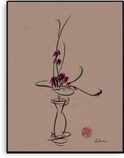 Life  -  Sumi e  Ikebana Zen drawing by Rebecca Rees
