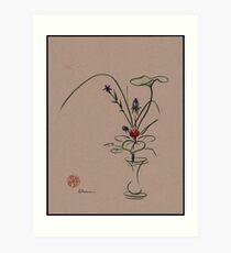 Autumn Chill - Sumi e  Ikebana Zen drawing Art Print