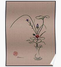 Autumn Chill - Sumi e  Ikebana Zen drawing Poster