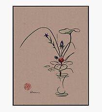 Autumn Chill - Sumi e  Ikebana Zen drawing Photographic Print
