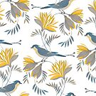 pretty bird pattern with yellow flower by Maria Khersonets