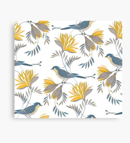 pretty bird pattern with yellow flower Canvas Print