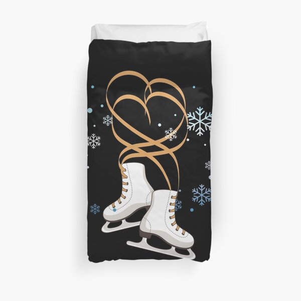 Ice Skating Shoes Heart Lace  Winter Sports Gift Duvet Cover
